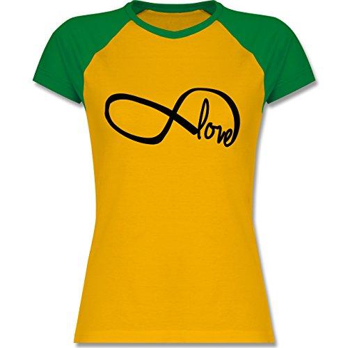 Statement Shirts - Forever Love - zweifarbiges Baseballshirt / Raglan T-Shirt für Damen Gelb/Grün