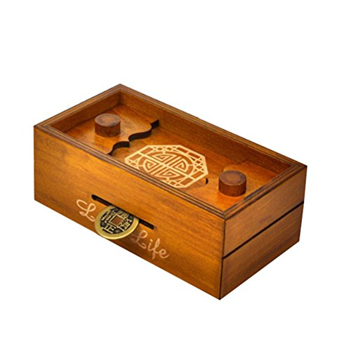 TOYMYTOY Caja Magica Caja secreta rompecabezas de madera Caja de dinero Brain Teaser Caja de regalo (Larga vida)