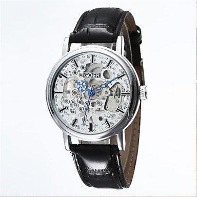 Fenkoo Männersache hohlen halbautomatische runden Zifferblatt Lederband Maschine analoge Armbanduhr (Farbe sortiert)