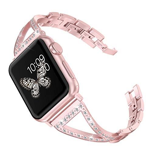 Wearlizer für Apple Watch Armband 38mm 40mm, Edelstahl Metall Smart Watch Armbänder mit Strass für Apple Watch Armband Series 4, Series 3, Series 2&1 - Rose Gold (Smart Watch Von Apple)