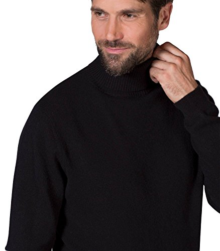 WoolOvers Pull à col roulé - Homme - 100 % mérinos Black