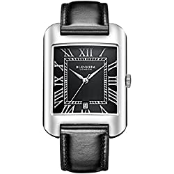 Blenheim London® B3180 Curve Watch Black Roman Numeral with Silver Hands with Black Leather Strap