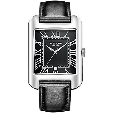 Blenheim Londres® B3180Curve reloj negro números romanos con manos de plata con negro correa de