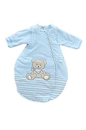 Jacky Jungen Baby Ganzjahres Schlafsack Langarm, 100% Baumwolle, Hellblau/Ringelstreifen, Gr. 74/80, 350013