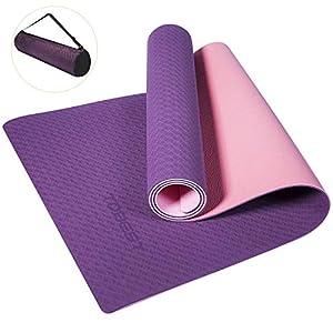 Yogamatte Gymnastikmatte Fitnessmatte Trainingsmatte TPE Umweltfreundlich Hypoallergen Hautfreundlich Leicht Rutschfest 6 mm Doppelte Farbbeständigkeit mit Tasche und Trageband 183x61x0,6cm
