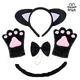JORYEE Katzen Kostüm Zubehör - Katzenohren, Fliege, Cosplay für Katzen Tierkostüm Adorable Party Kostüm Zubehör Cosplay Halloween Mädchen und Damen (Schwarz)