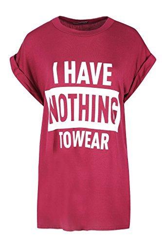 OOPS OUTLET Damen Aufgerollter Ärmel T-Shirt Damen ICH HABE NOTHING ZU TRAGEN Aufdruck Neuheit Oberteil - Kirschrot, Plus Size (UK 20/22) (Neuheit Damen Shirt)