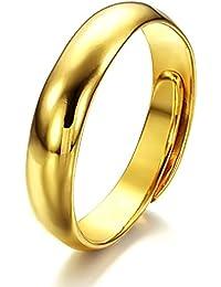 69b52fa5bea7 FJYOURIA - Anillo chapado en oro de 18 quilates pulido brillante ajustable
