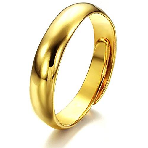 Fjyouria Herrenring, 18K Gold, versilbert, poliert, verstellbare Größe, glatter, offener - Kostüm Schmuck Und Verlobungsringe