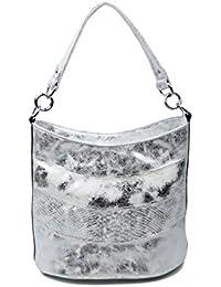 fe40a4ad71167 OBC Damen Tasche Shopper METALLIC Henkeltasche Schultertasche Umhängetasche  Handtasche Beuteltasche Hobo-Bag Handtasche