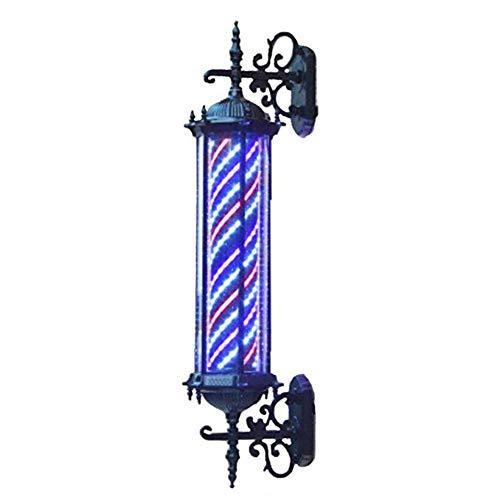 YOLL 90cm Retro Barbierstab Leuchtkugel Barber Pole Im Freien Wasserdicht LED Birne Rot, Weiß und Blau Beleuchtende Rotierende Streifen,B - Pole-lampe Freien Im