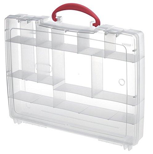 Kunststoffkoffer leer in transparent, Kombikoffer mit 21 Unterteilungen und Griff