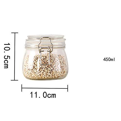 LYEXO Klarglas Gläser Luftdichten Kanister Küche Vorratsbehälter Für Süßigkeiten, Keks, Reis, Zucker, Mehl 2Pcs @ I (Küche Kanister-sets Gelb)