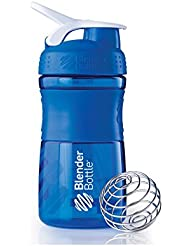 BlenderBottle Sportmixer - Botella de agua y mezcladora, 590ml (1 x 590ml), Azul Transparente