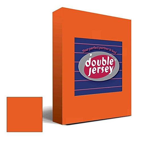 Double Jersey - Spannbettlaken 100% Baumwolle Jersey-Stretch bettlaken, Ultra Weich und Bügelfrei mit bis zu 30cm Stehghöhe, 160x200x30 Orange - 2
