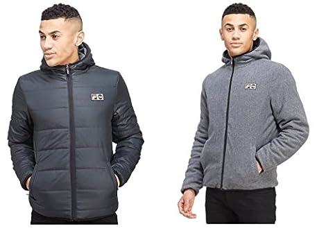 Fila Homme Vestes de sport Mens Jacket Reversible Padded Coat Alpino Hooded Coat Black/Grey S-XXL New (XL)