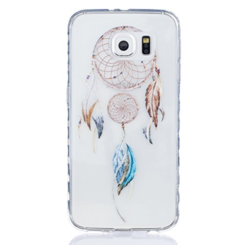 Samsung Galaxy S6/G920 Case [With Tempered Glass Screen Protector],Grandoin(TM) Fashion Flexible Nice Drawing Printed Pattern Bumper Shell Case ,Excellent Quality Soft Silicone Rubber Extra Ultra Slim Thin TPU Colorful Designs Protective Back Cover Case Perfect Fit for Samsung Galaxy S6/G920(Feather4) Test