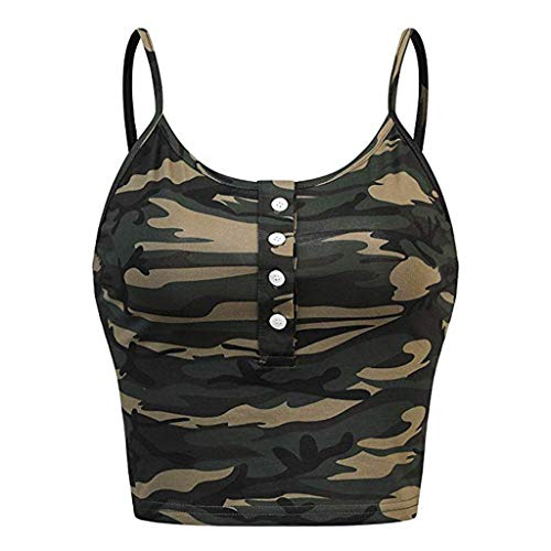 Momoxi Ärmelloses Damen O-Neck Button Up Casual Camouflage Print Vest Cami Tank Top Sleeveless Sommer T-Shirt Armee grün XL Button Up Band