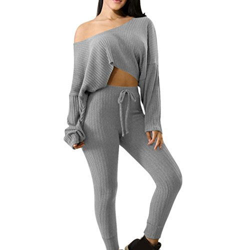 Knit Fleece-hose (Sport 2pcs Bekleidungssets Damen, ZIYOU Bekleidung Pullover / Frauen Lange Ärmel Sweatshirt + Hosen Sets (Grau, S))