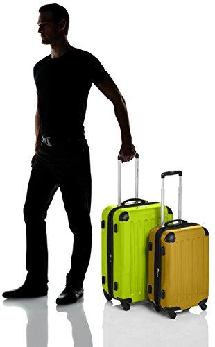 HAUPTSTADTKOFFER - Alex - 2er Koffer-Set Hartschale glänzend, TSA, 65 cm + 55 cm, 74 Liter + 42 Liter, Orange-Aubergine Apfelgrün-Gelb