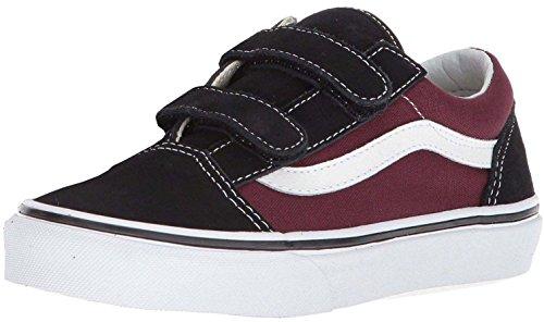 #Vans Old Skool V Black Maroon White Suede Toddlers Trainers Shoes-4