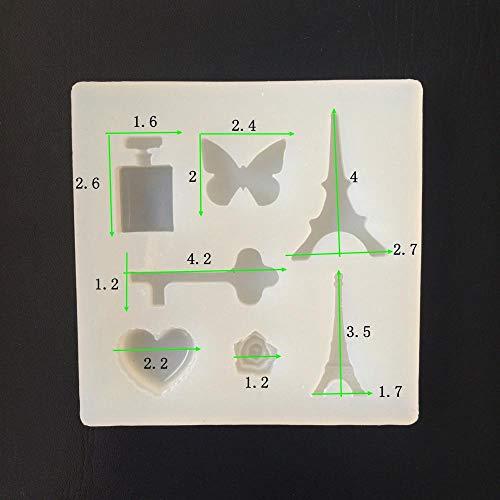 Herz-parfüm-flasche (SULUO Schmetterlings-Parfüm-Flasche Liebes-Herz formte Fondant-Polymer-Lehm-Fertigkeit-Epoxidharz-Anhänger-Schmuck-Form in den Ton Extrudern)