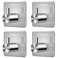 Entligent Self Adhesive Hooks, [4 Pack] Premium 304 Stainless Steel 3M Adhesive Wall Hanger for Kitchen, Bathrooms, Office, Closet, etc. Waterproof, Rustproof and Oilproof