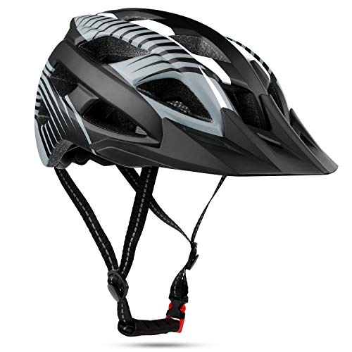 Shinmax Specialized Fahrradhelm Leichtgewicht Abnehmbare Visier Bike Helm mit CE Zertifikat (Grau Weiß)