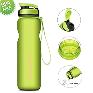 1L Water Bottle[BPAFree],CAMTOA Leakproof Sports Drinking Bottle/Flask/Hydrate Kettle/Hydration Tank Jug Container with String-Easy Carrying For Running,Gym,Diet,Yoga,Outdoors & Indoors-Open By 1Step