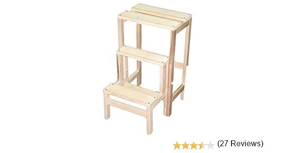 Sgabello ribaltina legno naturale 10610: amazon.it: casa e cucina