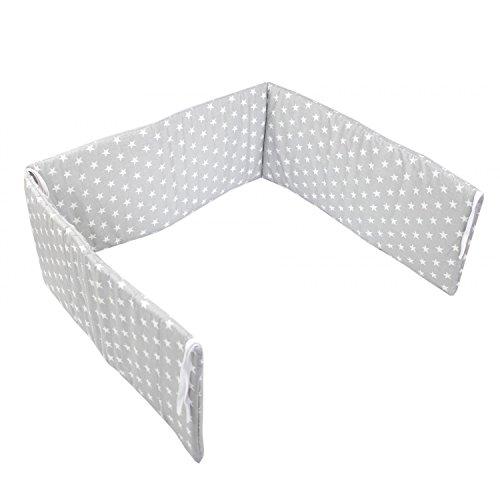 TupTam Babybett Kopfschutz Kurz Gemustert, Farbe: Sterne Grau, Größe: 210x30cm (für Babybett 140x70)