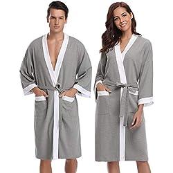 Aibrou femme homme Kimono Tissage Gaufré Peignoir de Bain Unisexe Coton Waffle Robe de Chambre col V Pyjama Pour l'hôtel Spa Sauna Vêtements de nuit - Gris+ Blanc - L