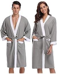Aibrou Unisex Albornoz Mujer Hombre Primavera Verano Batas y Kimonos Invierno con Cinturón, Muy Suave