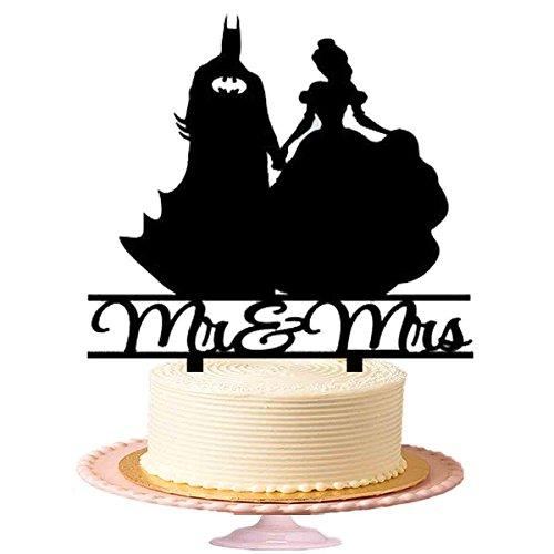 """""""Mr & Mrs mit Batman und Wonder Frauen Hochzeit Tortenaufsatz, Hochzeit Jahrestag Kuchen Topper Acryl Kuchen Topper in Schwarz glänzend (Design-#-2)"""