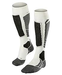 FALKE Damen Skisocken SK2, Merinowollmischung, 1 Paar, Weiß (Off-White 2040), Größe: 41-42