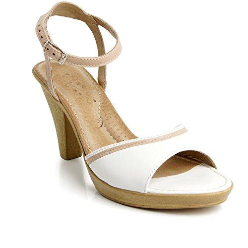 Batz LULU di Alta Qualità Sandali Estivi con Cinghia Posteriore in Pelle da Donna, Bianco, 38