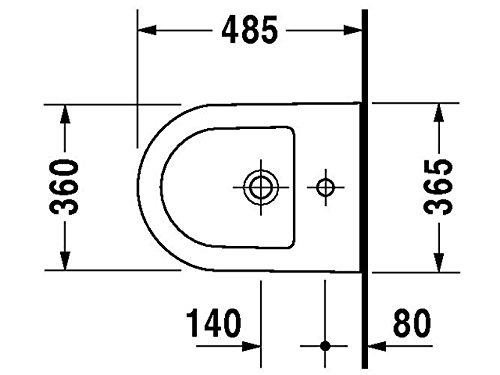 Duravit Wand Bidet Darling New Compact 485 mm, 1 Hahnloch, weiss WonderGliss, 22561500001