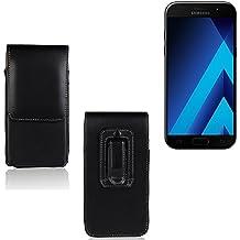 Funda para Samsung Galaxy A5 (2017), la bolsa de cinturón de cuero de imitación de alta calidad en color negro | elegancia funcional simple llano. Teléfono Móvil Funda Caso bolso cruzado bolsillo clip de transporte vertical de la cubierta del bolso
