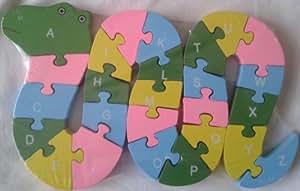 Puzzle en bois forme serpent, alphabet et chiffres