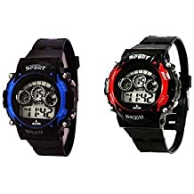 Fusine (Pack of 2) 7 Colour Lights Unisex Digital Sports Watch (Combo 1)
