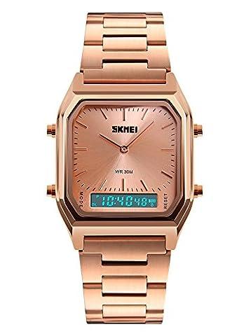 Auspicious beginning Männer Frauen Edelstahl Armbanduhr Dual Analog Digital Uhr