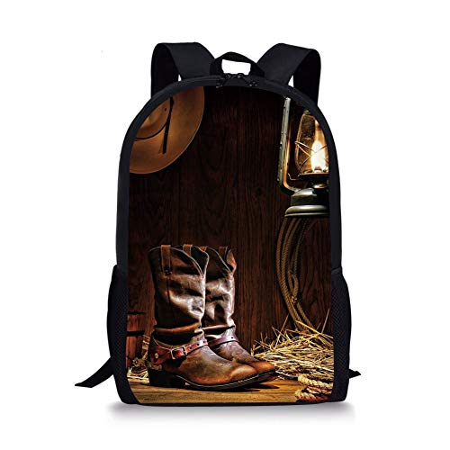 School Bags Western,Authentic Western Riding Tools Shoes in Vintage Ranch Barn with Nostalgic Lantern Print Decorative,Brown for Boys&Girls Mens Sport Daypack -