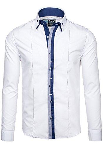 BOLF Herren Langarm Herrenhemd Figurbetont Freizeit Slim 4796 Weiß