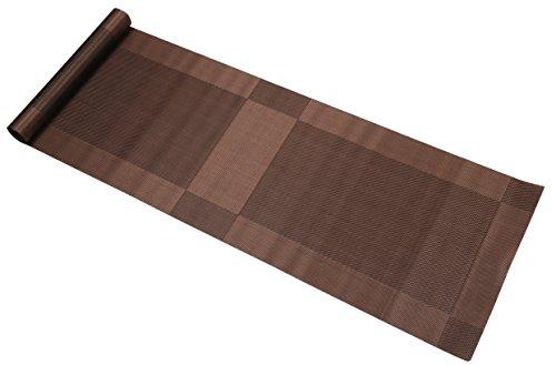 Famibay runner lavabile in vinile runner da tavola per tavolo da cucina antiscivolo pvc/poliestere marrone 135cm