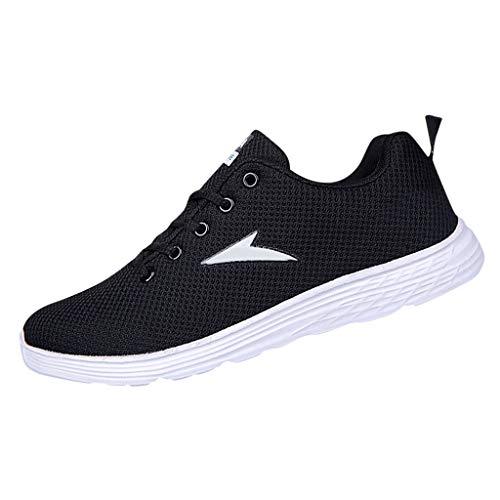 AIni Herren Schuhe Mode 2019 Neuer Heißer Beiläufiges Turnschuhe Lässige Mesh Atmungsaktive Laufschuhe Runder Zeh Sneakers Freizeitschuhe Partyschuhe (42,Schwarz)