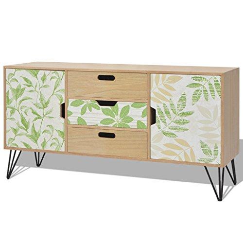 Festnight MDF Holz Anrichte Sideboard mit 3 Schubladen und 2 Stauf?chern 110 x 35 x 57 cm als Konsolentisch Kommode Seitenschrank - Braun