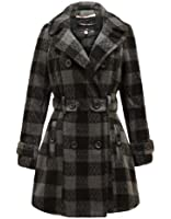 PARADIS COUTURE LADIES BELTED JACKET CHECK PATTERN WARM FLEECE COAT SIZES 8-16