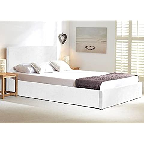 Oxford White Fabric Ottoman Storage Bed, 5' Kingsize by Oxford