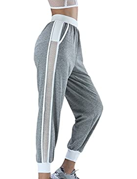 Mujeres Huecos Fuera Causal Malla Patchwork Pantalones Al Tobillo Colorblock Sweatpants