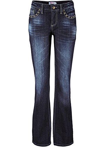 Stretch-Jeans Bootcut mit Nieten, dunkelblau, Kurzgröße, Damenjeans, Maße stehen im Text (46)
